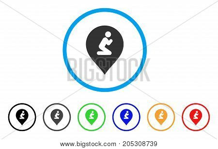 Prayer Map Marker rounded icon. Style is a flat prayer map marker grey symbol inside light blue circle with black, gray, green, blue, red, orange color versions.