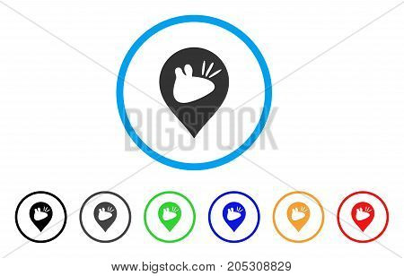 Rats Marker rounded icon. Style is a flat rats marker grey symbol inside light blue circle with black, gray, green, blue, red, orange color versions. Vector designed for web and software interfaces.