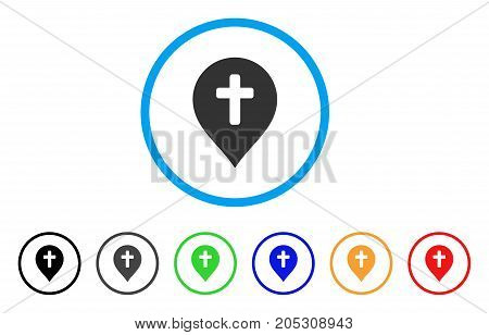 Religion Cross Marker rounded icon. Style is a flat religion cross marker grey symbol inside light blue circle with black, gray, green, blue, red, orange color versions.