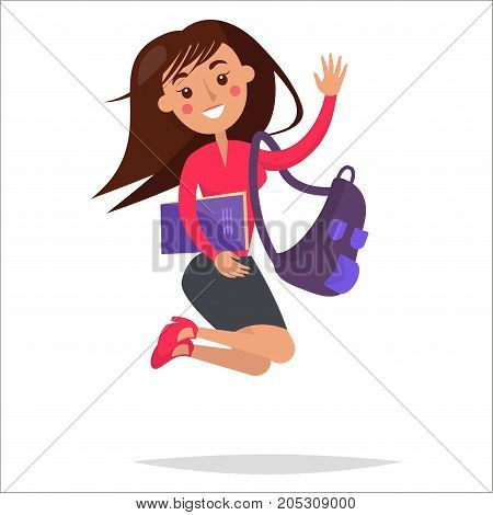 Jumping girl in strict clothing with big purple backpack and notebook smiles and wags isolated on white background. Diligent student vector illustration. Reaction for successful exams passing.