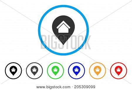 Residence Marker rounded icon. Style is a flat residence marker gray symbol inside light blue circle with black, gray, green, blue, red, orange variants.