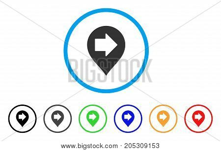 Right Arrow Marker rounded icon. Style is a flat right arrow marker gray symbol inside light blue circle with black, gray, green, blue, red, orange color versions.