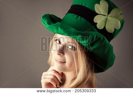 portrait charming girl in image of leprechaun