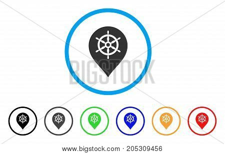 Ship Wheel Marker rounded icon. Style is a flat ship wheel marker grey symbol inside light blue circle with black, gray, green, blue, red, orange variants.