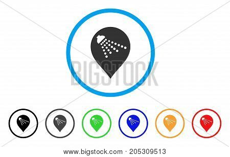 Shower Map Marker rounded icon. Style is a flat shower map marker grey symbol inside light blue circle with black, gray, green, blue, red, orange versions.