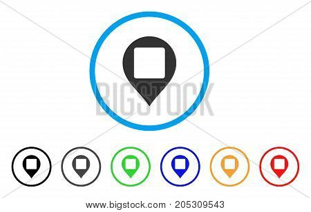 Square Hole Map Marker rounded icon. Style is a flat square hole map marker gray symbol inside light blue circle with black, gray, green, blue, red, orange variants.
