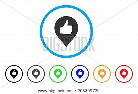 Thumb Up Map Marker rounded icon. Style is a flat thumb up map marker gray symbol inside light blue circle with black, gray, green, blue, red, orange color versions.