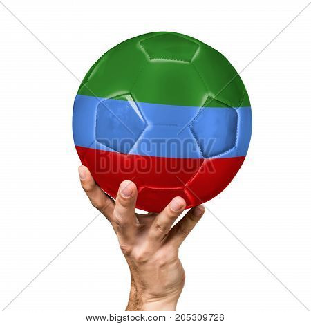 soccer ball with the image of the flag of Dagestan, ball isolated on white background.