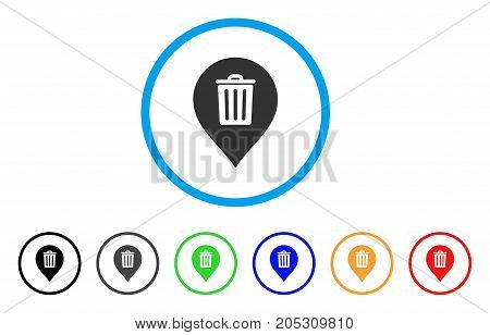 Trash Can Marker rounded icon. Style is a flat trash can marker grey symbol inside light blue circle with black, gray, green, blue, red, orange color versions.