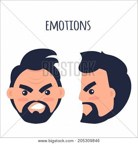 Human emotion of anger and annoyance vector illustration. Cartoon brunette male character with beard and twisted mouth frowns his eyebrows from front view and in profile isolated on white background