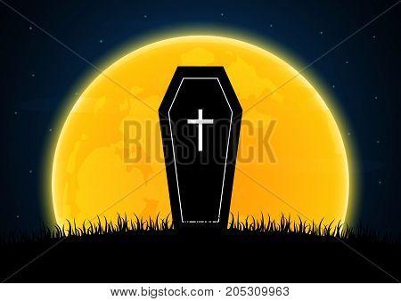 Halloween Coffin Or Casket Moon Graveyard