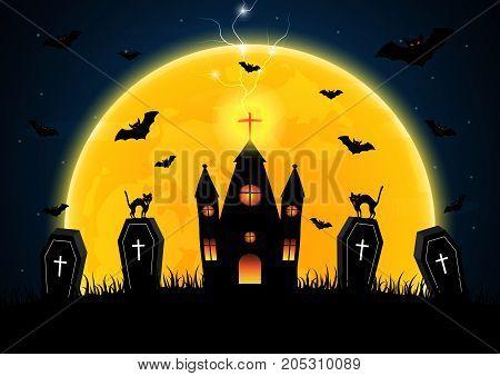 Halloween Coffin Graveyard Castle Moon Bat Thunderbolt