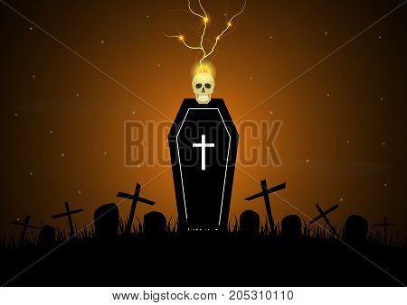 Halloween Coffin Graveyard Skull Thunderbolt Lightning Tombstone