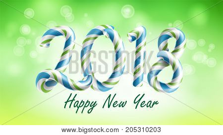 2018 Happy New Year Background Vector. Flyer Or Brochure Design Template 2018. Decoration Date 2018 Year. Celebrate Event Holiday Illustration