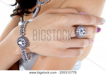 close up beautiful jewelry , bracelet , ring , in studio