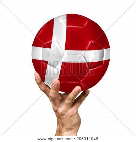 soccer ball with the image of the flag of Denmark, ball isolated on white background.