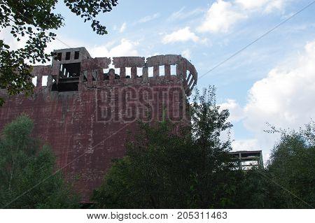 Dangerous damaged concrete construction. The Second World War ruins.