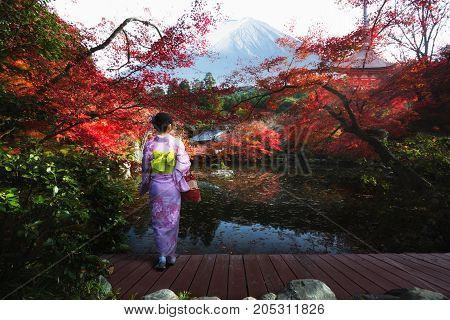 Japanese lady standing looking autumn park and Mt.Fuji in background Japan