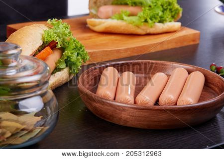 Concept of eating outdoors. Festival of beer. Hot dogs, hamburgers, barbecue