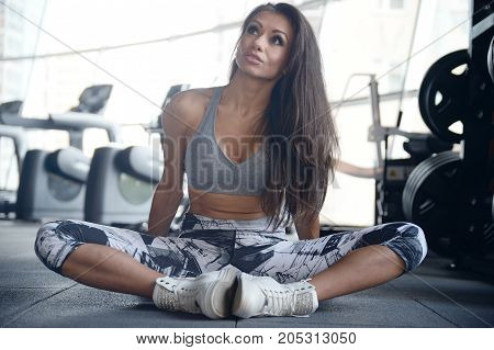 Portrait Pretty Athletic Young Woman Training Gym