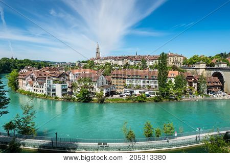 Bern Switzerland - May 26 2016: View of Bern old town over the Aare river in Switzerland.