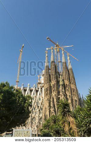 Nativity Facade Of La Sagrada Familia - The Impressive Cathedral Designed By Gaudi, Barcelona, Spain