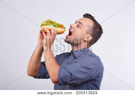 A man eats a large mouth-watering hot dog with tomatoes and lettuce leaves.