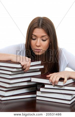 Bored High School Or College Girl Reading Student Book