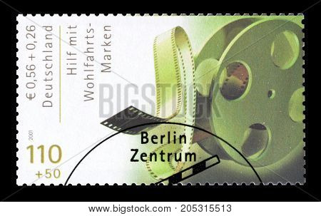 GERMANY - CIRCA 2001 : Cancelled postage stamp printed by Germany, that shows Movie projector.