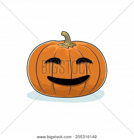 Carved Smiling Scary Halloween Pumpkin a Jack-o-Lantern on White Background