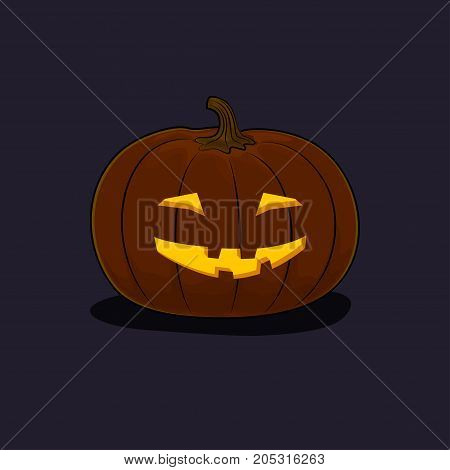 Carved Grinning Scary Halloween Pumpkin on Dark Background a Jack-o-Lantern