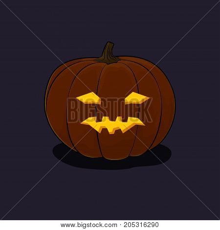 Carved Vicious Scary Halloween Pumpkin a Jack-o-Lantern on Dark Background