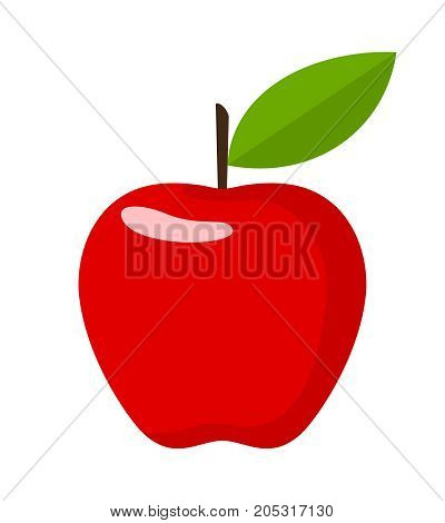 Red Apple. Flat Design Vector Illustration Of A Red Apple On White Background.