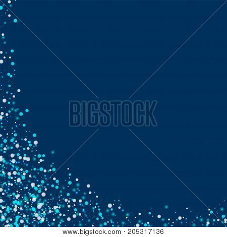 Amazing Falling Snow. Abstract Left Bottom Corner With Amazing Falling Snow On Deep Blue Background.