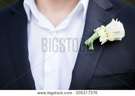 Groom close up with buttonhole in suit