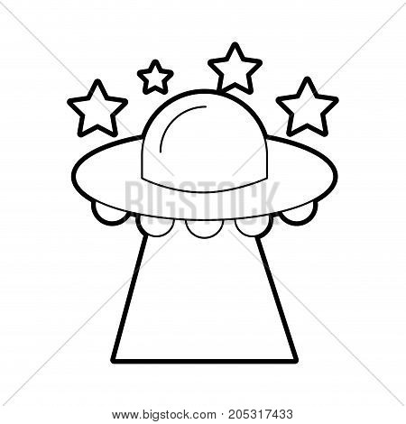 ufo flying stars saucer technology science transport vector illustration