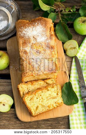 Moist fluffy sweet apple cake rustic style