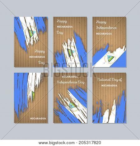 Nicaragua Patriotic Cards For National Day. Expressive Brush Stroke In National Flag Colors On Kraft