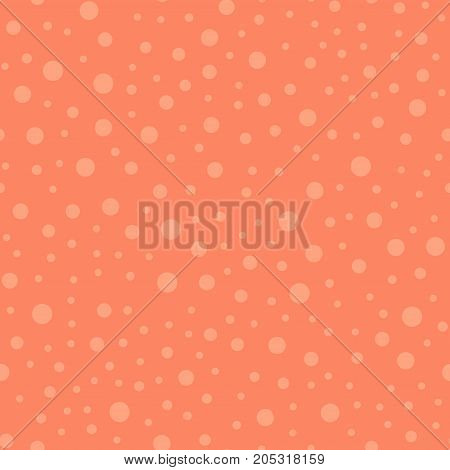 Light Polka Dots Seamless Pattern On Coral Background. Sightly Classic Light Polka Dots Textile Patt
