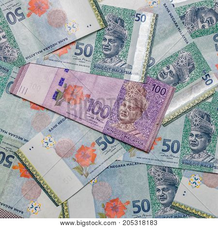 Malaysian Ringgit Currency On Pattern Background