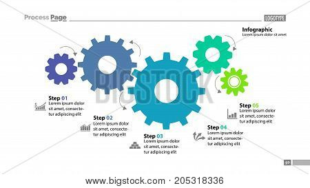 Cogwheel process chart design. Element of chart, diagram, slide templates. Concept for inforgraphic, annual report, presentation. Can be used for topics like business, management, strategy