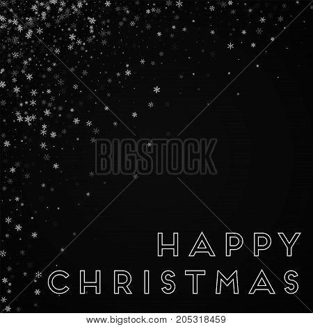 Happy Christmas Greeting Card. Beautiful Snowfall Background. Beautiful Snowfall On Black Background