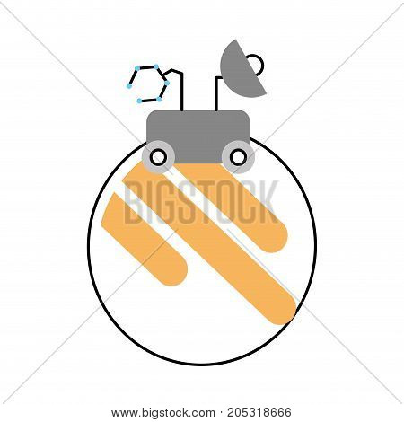 mission space planet colonization research module rover vector illustration
