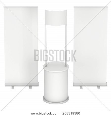 Stall or Kiosk Modern Promostand Reception Desk with roll up. Trade show booth white and blank. 3d render illustration isolated on white background. Template mockup for your expo design.