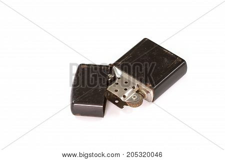 Old Cigarette Lighter On White Background Closeup