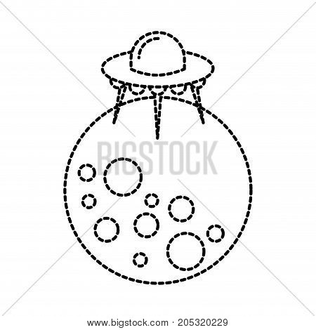 moon ufo saucer galaxy astronomy universe science vector illustration