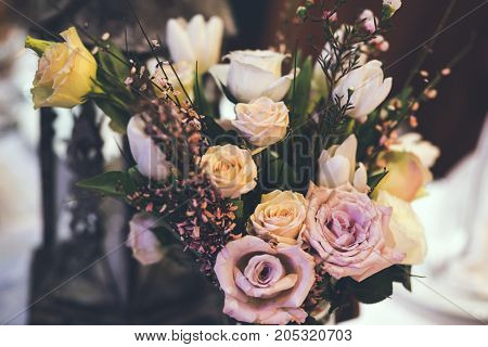 decor and colourful flowers on the table
