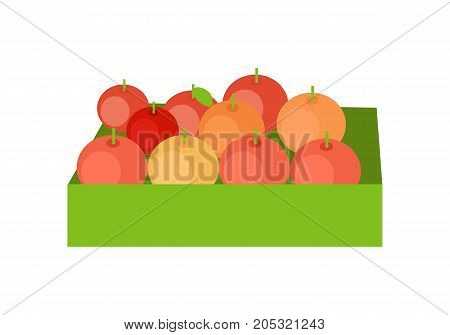Red apples in a green box. Box full of fresh apples in flat. Box of lovely red apples. Retail store element. Isolated vector illustration on white background.
