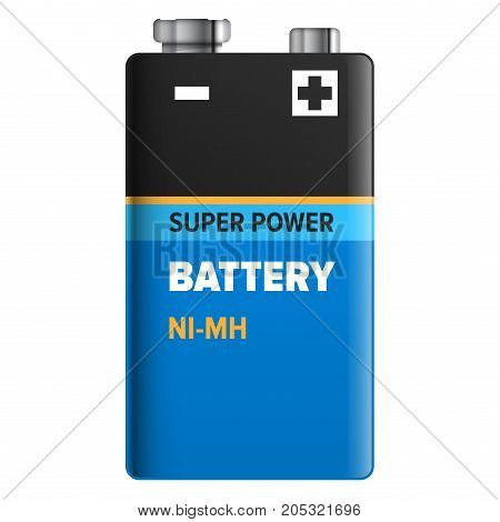 Super power battery isolated on white. Vector illustration of accumulator in blue and black colors. Nickel-metal hydride type of rechargeable battery, abbreviated NiMH or Ni-MH flat realistic design