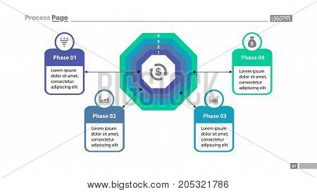 Four phase process chart with descriptions. Element of chart, diagram, presentation. Concept for annual report, infographic, web design. Can be used for topics like money, finance, banking